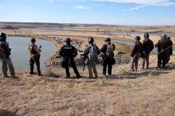 Law enforcement on top of Turtle Hill south of the DAPL drill pad - photo provided by Morton County Sheriff's Department