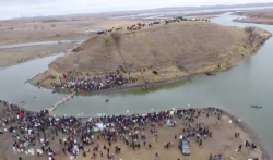 Turtle hill, cantapeta creek, law enforcement has now stretched razor wire across the bank opposite oceti sakowin - photo provided by digital smoke signals