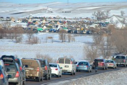 Carvan to standing rock, from early morning until late night, the thousands of vehicles streetched for more than a mile - photo by C.S Hagen