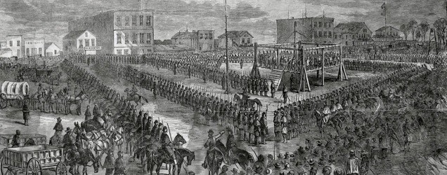 Hanging of the 38 Sioux at Mankato - sketch by W.H. Childs