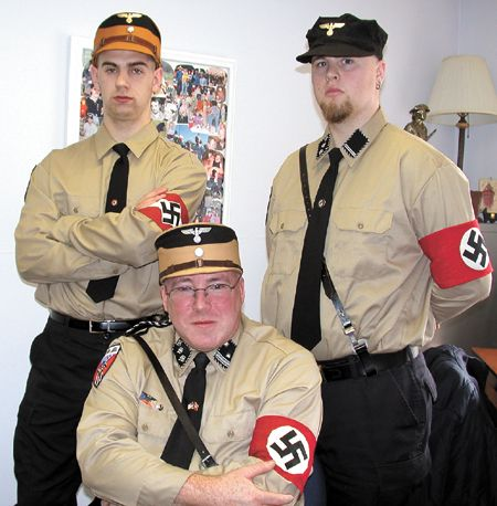 At center - 2007 Nazi party presidential candidate John Bowles, (left) Nick Chappell and Kevin Swift - photo by NSM International
