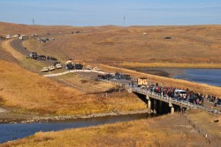 View from hilltop of Backwater Bridge, activists marching away - photo by C.S. Hagen