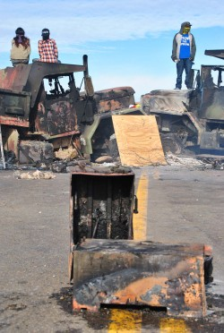 Two trucks burned at backwater bridge - photo by C.S. Hagen