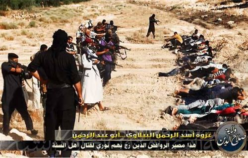 Picture of Yazidis before terrorist firing squads - from Ezzat Alhaidar's Facebook