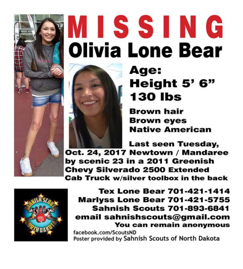 Olive Lone Bear's missing person's poster - Sahnish Scouts of North Dakota