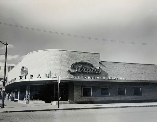 Straus Clothing Store - photograph provided by Department of Special Collections, Chester Fritz Library UND