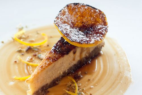 Dessert: Bruléed squash cheesecake with spiced oranges – Prepared by Pastry Chef Dana Swanson