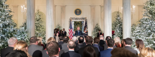 President Donald Trump speaking about the tax bill - photograph provided by the White House