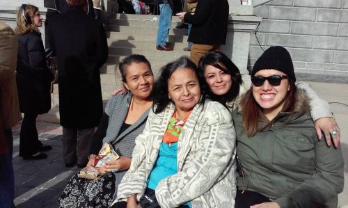 Red Fawn Fallis (in back) and her mother (center front) - Facebook