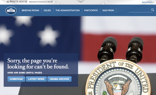 Official White House page screenshot