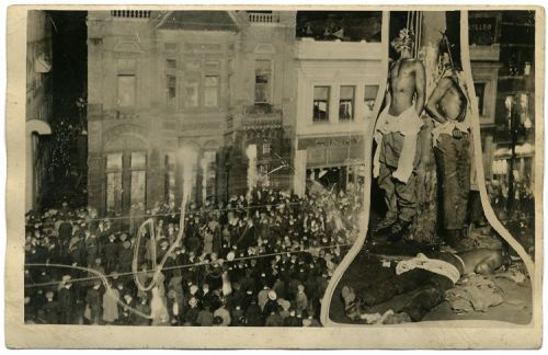The postcard sold in Duluth after the 1920 lynchings of three black Americans