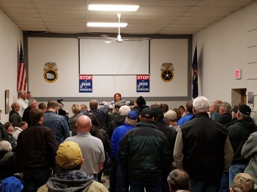 Central States Rally in Bismarck November 2017 with ND Teamsters to announce bill she helped write on Central States Pension Fund - Senator Heitkamp's Office