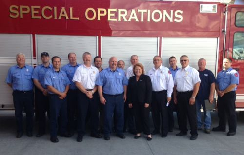 Heitkamp with Fargo Fire Department after announcing her Response Ace in June 2014 - Senator Heitkamp's Office