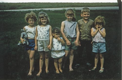 Photograph of Heidi Heitkamp as a child with siblings - Senator Heitkamp's Office