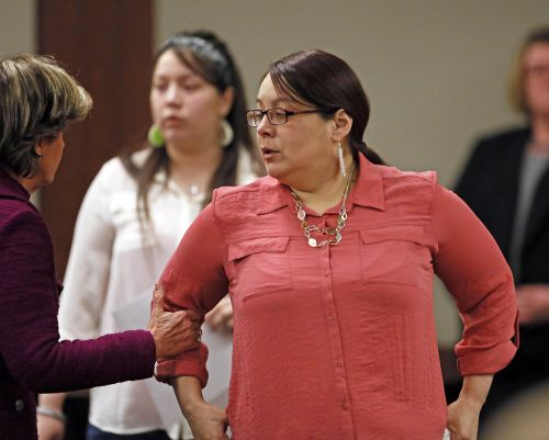 Norberta Greywind during court proceedings - photograph by Dave Samson of the Minneapolis Star Tribune