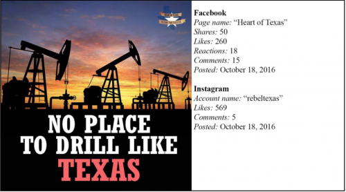 Texas oil Russian interference - Russian social media post - U.S. House Committee report