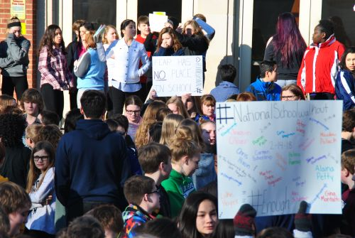 At 10 a.m. Wednesday morning, students across the country, including at Fargo's Ben Franklin Middle School, walked out of class in support of school safety - photograph by C.S. Hagen