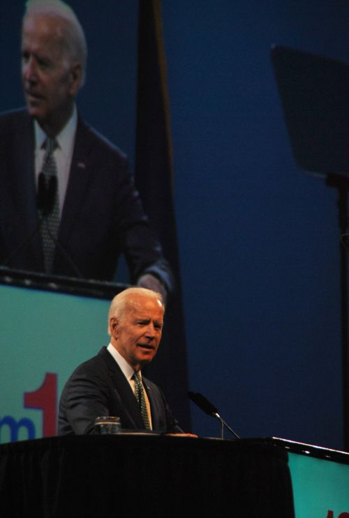 Former Vice President Joe Biden speaking at the ND Dem-NPL Convention - photograph by C.S. Hagen