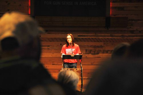 Representative Karla Hanson, District 44, speaking in defense of gun control, background checks, and increasing age limit for gun purchases - photograph by C.S. Hagen