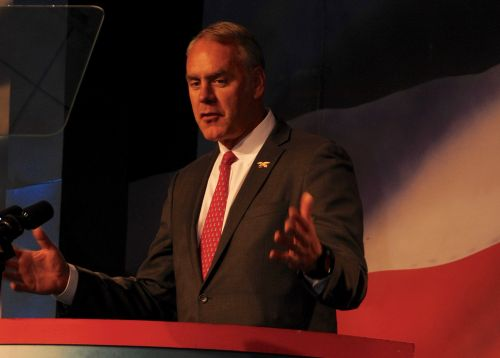 Department of Interior Secretary Ryan Zinke speaking at ND GOP Convention - photograph by C.S. Hagen