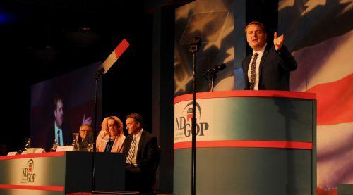 ND Tax Commissioner Ryan Rauschenberger during endorsement speech - photograph by C.S. Hagen