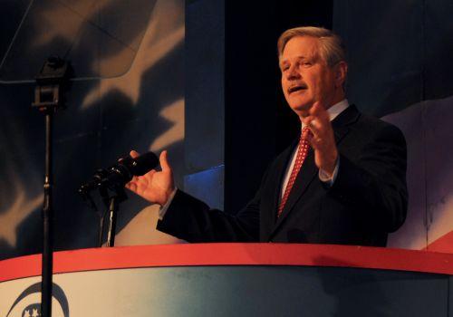 Senator John Hoeven nominating Congressman Kevin Cramer for the U.S. Senate - phtograph by C.S. Hagen