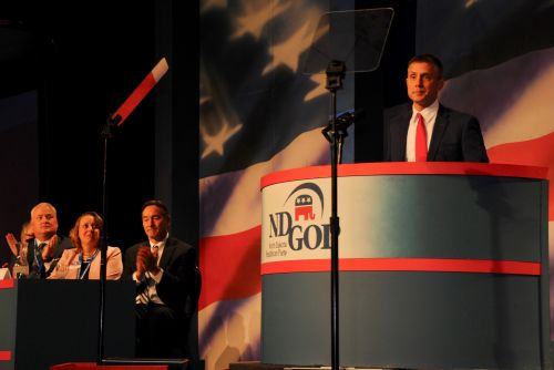 Senator Kelly Armstrong at ND GOP Convention - photograph by C.S. Hagen