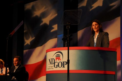 Tiffany Abentroth at the ND GOP Convention - photograph by C.S. Hagen