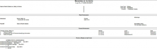 State of North Dakota vs. Betty Jo Krenz - North Dakota Court records screenshot