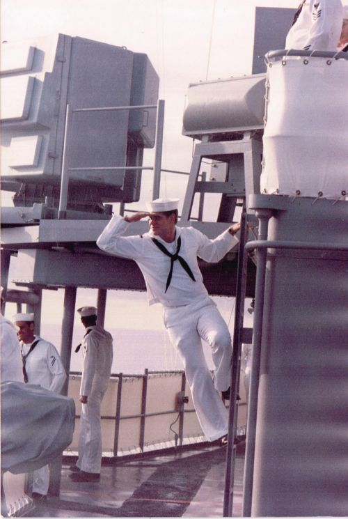Kevin Shores posing for a picture while aboard the USS Fox in the late 1980s - provided by Kevin Shores