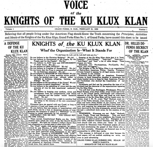 KKK newspaper 1923 with article by North Dakota's Knights of the Ku Klux Klan