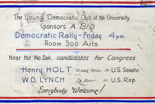 Political ad found behind plaque at old Wesley College - photograph provided by UND