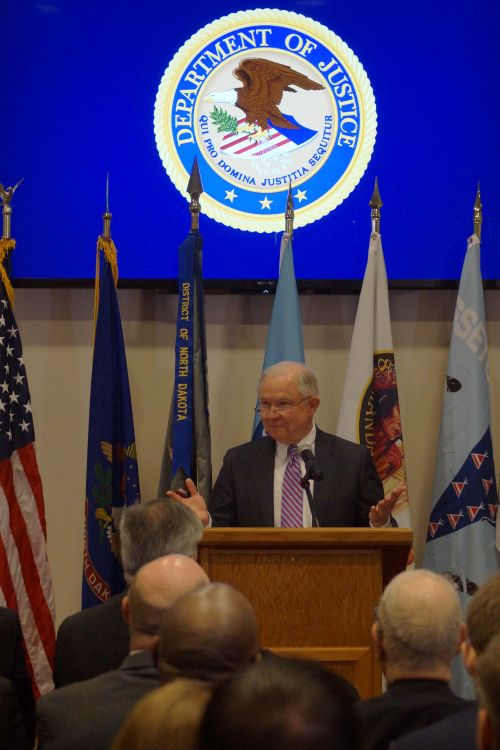 US Attorney General Jeff Sessions speaking before state judicial officials - photograph by C.S. Hagen