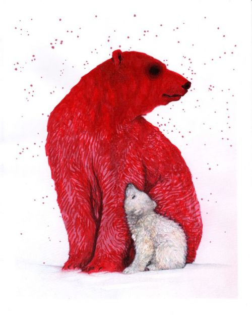 """Mother"" a red mother bear with a white baby bear - by Christina Johnson"