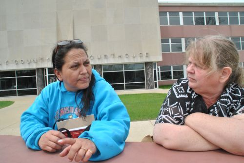 Lissa Yellow Bird-Chase (left) and Linda Anderson during break from the trial of Justin Critt - photograph by C.S. Hagen