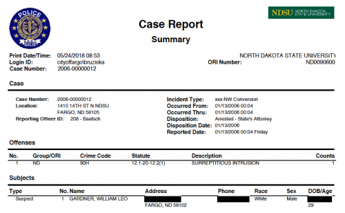 Snapshot of William Gardner's police report