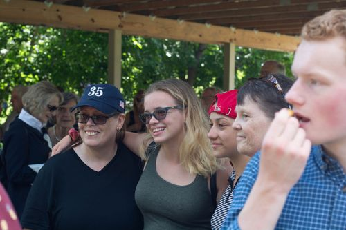 Parkland students with Moorhead students, Emma Gonzalez in red hat - photograph by Logan Macrae