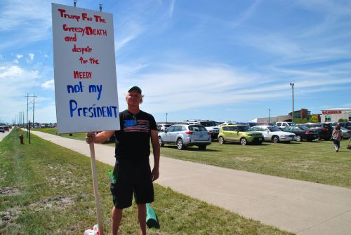Dean Christianson of Grand Forks, counter protesting - photograph by C.S. Hagen