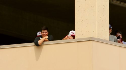 Hecklers in the parking garage - photograph by C.S. Hagen