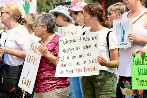 The MoveOn rally attracted more than 200 people in Fargo - photograph by C.S. Hagen