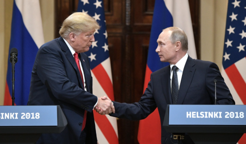 Trump and Putin shaking hands after Helsinki summit - photograph provided by the website of the President of the Russian Federation www.kremlin