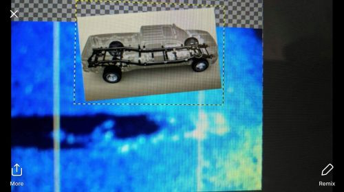 Comparative picture of the missing pickup truck and the sonar picture of truck - photograph provided by Lissa Yellowbird-Chase