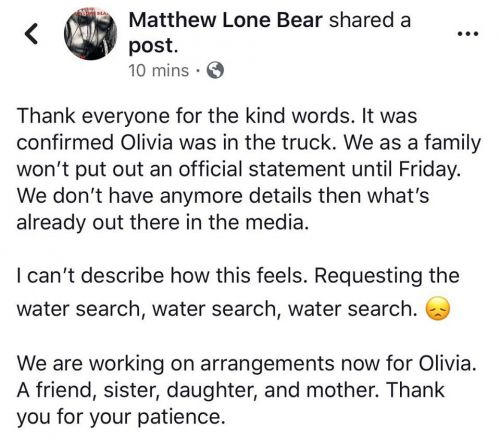 Facebook post from Matthew Lone Bear, brother of Olivia
