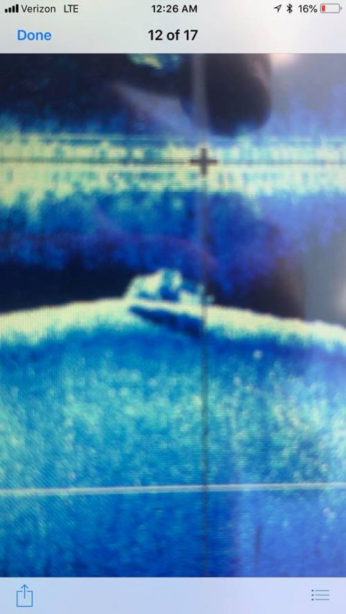 Pickup truck clearly seen by sonar - photograph provided by Lissa Yellowbird-Chase
