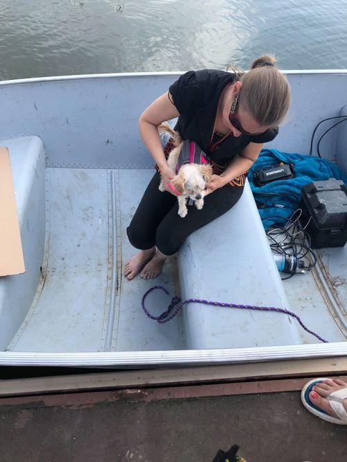 Volunteer Jemima Heppner and dog, Melly, in boat - photograph provided by Melaine Stoneman