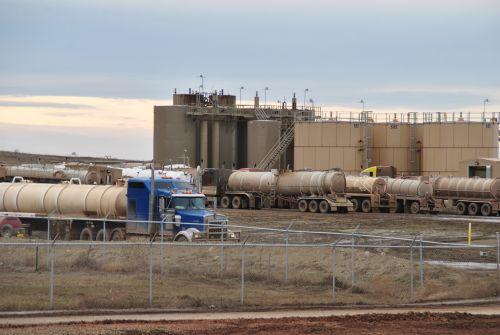 Oil storage area - photograph by C.S. Hagen