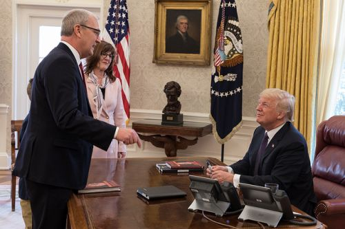 President Donald J. Trump welcomes U.S. Rep. Kevin Cramer, R-ND, joined by his wife, Kris and their son, Abel, to the Oval Office, Tuesday, Jan. 2, 2018, at the White House in Washington, D.C. - official White House Photo by D. Myles Cullen