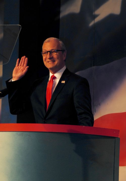 Congressman Kevin Cramer accepting the endorsement to run against Senator Heidi Heitkamp for the U.S. Senate - photograph by C.S. Hagen