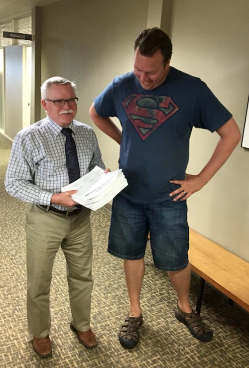 City Auditor Steve Sprague and Jed Limke - photograph provided by Jed Limke