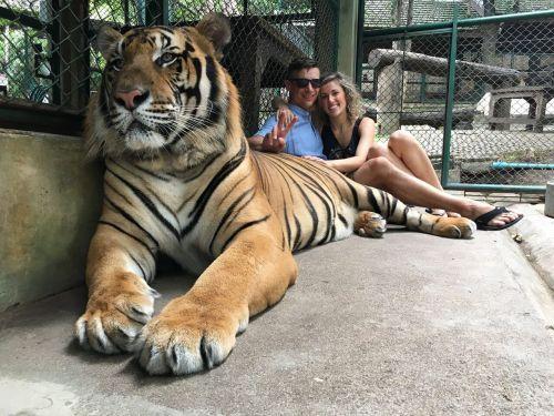 Jon Wayne and his wife Jordan with a tiger - photograph provided by Jon Wayne